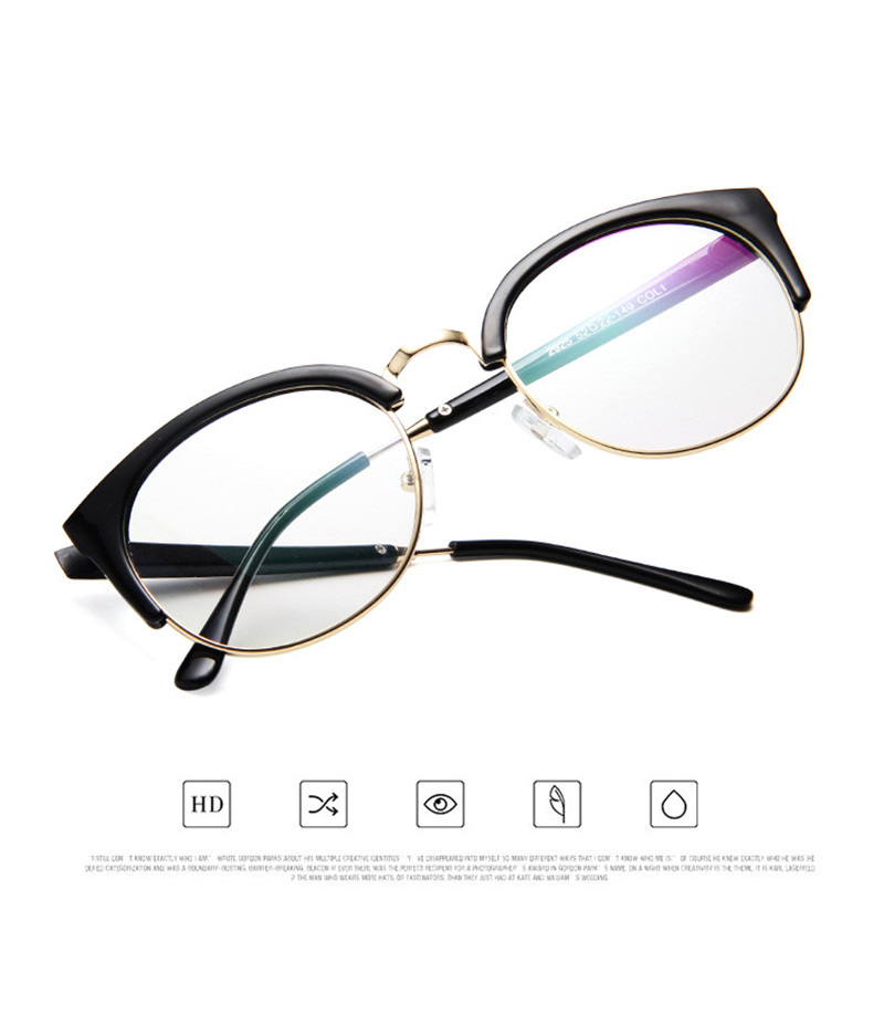 8a2b28ff57 ibooke Retro Cat Eye Glass Telaio Donna Uomo Vintage Clear Lens Mezza orlo  Occhiali Plain Eyewear Occhiali Myopic Fashion