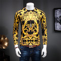 Euro Gold Vintage Print Knitted Wool Sweater Men O-Neck Pullovers 2016 New Fashion Autumn Winter Pull Homme Branding Clothing