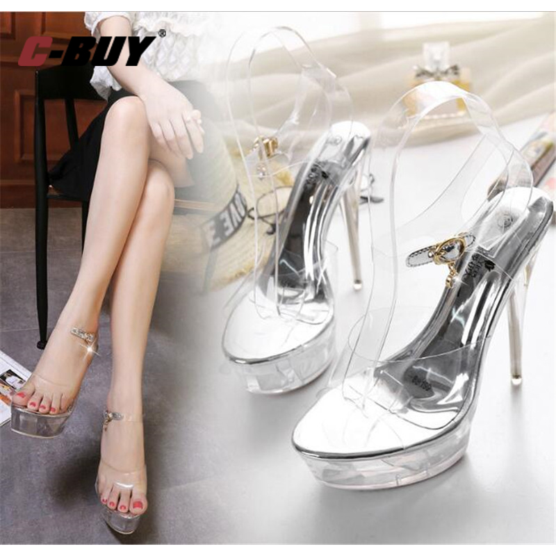 Women Clear Transparent Sandals Ankle Strap Ladies High Heels Sexy Party Shoes Plus Size 34-39 101LXWomen Clear Transparent Sandals Ankle Strap Ladies High Heels Sexy Party Shoes Plus Size 34-39 101LX