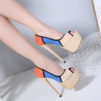 Fashion high heels 2018 autumn new fish mouth single shoes female color matching 16 cm super high heel stiletto women's shoes