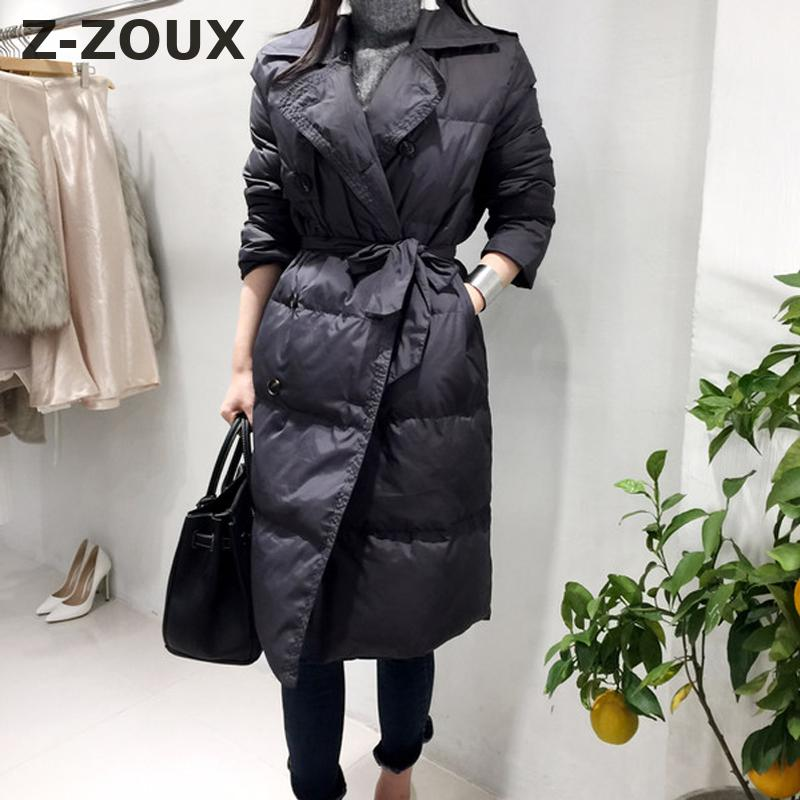 Z-ZOUX Womens   Parka   Vintage Thickened Winter   Parka   Women Winter Coats Double Breasted Lace Up Slim Thin Winter Jackets 2018