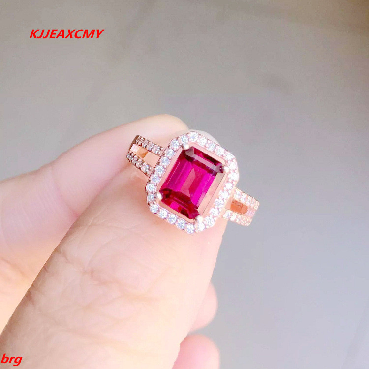 KJJEAXCMY Fine jewelry Fine 925 Inlay Natural Sri Lanka rose red garnet female ring sri lanka peregrine