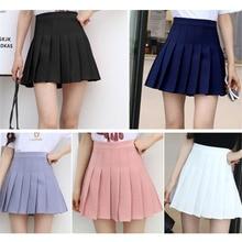 2018 Summer Skirts Womens High Waist Short School Pleated Skirt For Girls Mini Sexy Pink Leggings Female Sun Skirt Zipper H0073