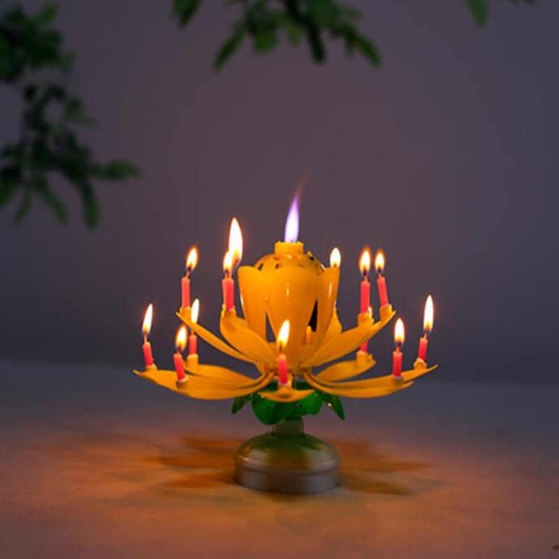 New Rotating Lotus Candle Flower Music Happy Birthday Candles Light For Cake Decoration Wedding Party