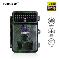 BOBLOV CT005 16MP 1080P Trail Camera 0.5S Trigger Time Waterproof IP66 Wild Camera Free 8G/16G/32G Card for Security Farm Fast