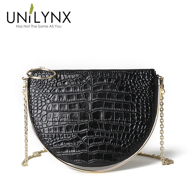2018 UNILYNX croc sac nouvelle petite foule conception version coréenne de poignée en métal croc demi-lune sac sac à main chaîne mini sac