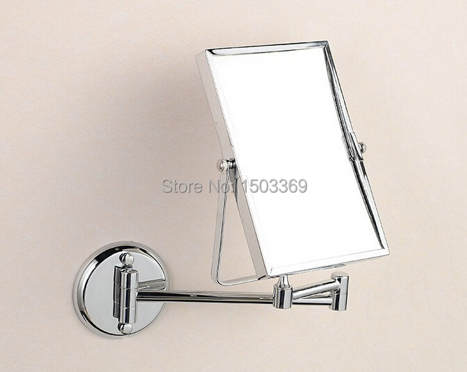 Bathroom Mirror 8 Inch Wall Mounted Brass 3X 1X Magnifying Folding Double Face Makeup