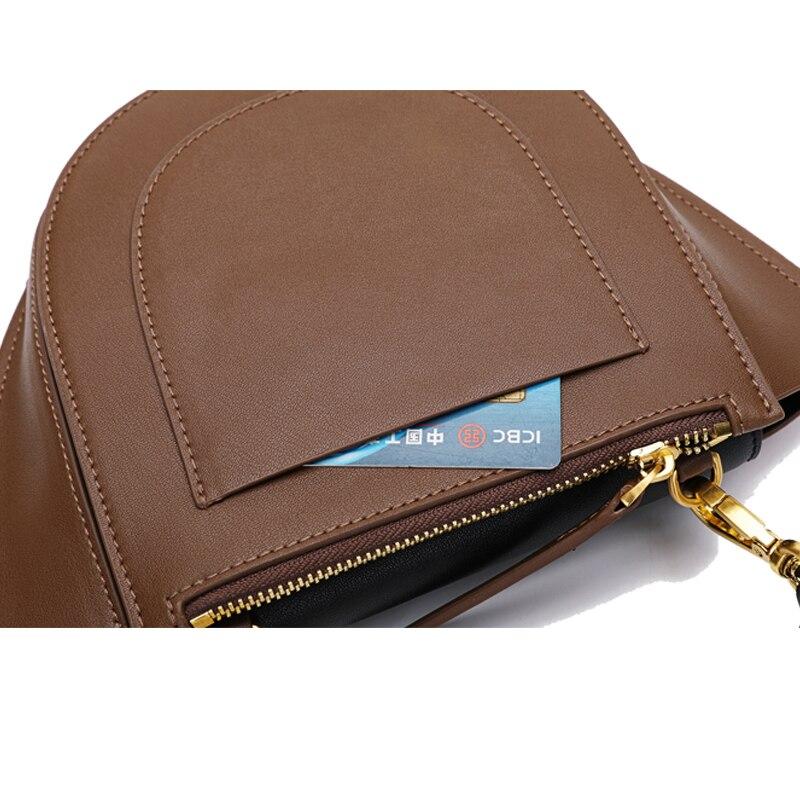 Berühmte Tasche Paste Marken Kleine orange Taschen Frauen Handtasche 2019 Neue Für Leder brown Retro Echtem Black Designer Messenger Schulter OwU8OfrZq