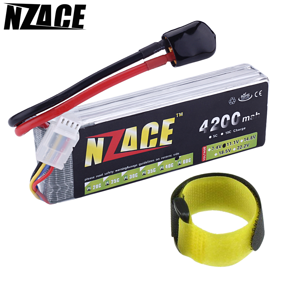 NZACE Lipo Battery 11.1V 4200Mah 60C 3S MAX 120C T/XT60 Plug for F450 F550 RC Qudcopter Car Boat Airplane