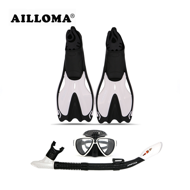 AILLOMA Adult Diving Camera Mask Snorkel Fins Diver Full Dry Breathing Tube Flipper Scuba Diving Anti-Fog Swimming Goggles sets anti fog full face snorkeling mask diving snorkel 180 degree vision for gopro free breathing dive gear tube swimming diving mask