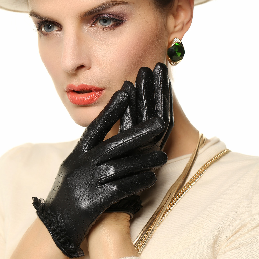 Black leather gloves female - 2017 Special Offer Women Genuine Leather Gloves Breathable Fashion Solid Wrist Lace Sheepskin Glove Female Lambskin