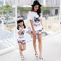 Matching Family Clothing Cat Print Clothing Sets Clothes for Mother and Daughter Family Clothing Sets Girls Clothes Set TL19