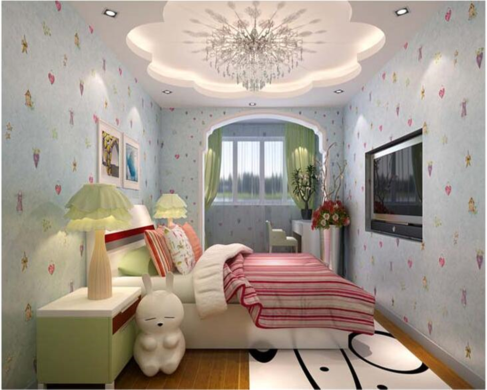 beibehang Children's cartoon non woven 3d wallpaper warm green boy girl bedroom book bedsid background wallpaper papel de parede beibehang environmental non woven boy girl warm cartoon children s room blue sky clouds balloon wallpaper