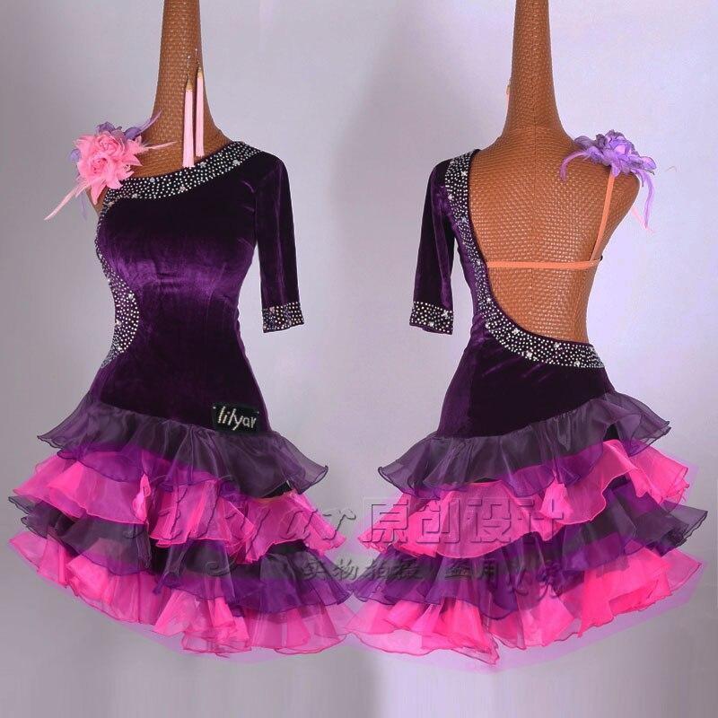2019 Latin Dress For Women Purple Velvet Dance Dress Cake Skirt Salsa Dress Evening Party Singer Latin Competition Dress BL1884