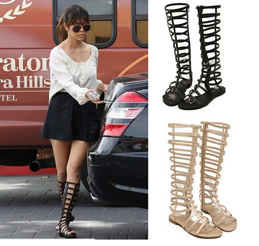 22ff6f51813d Fashion Woman Knee High Gladiator Sandals Strappy Sandalias Feminina  Women s Roman Long Low Heel Flat Sandal Boots Shoes