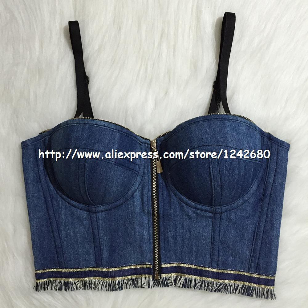 wholesale jean crop top corset
