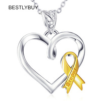 BESTLYBUY about faith hope love keychain care women Breast health Heart shaped 925 Silver pendant Necklace women gift jewelry