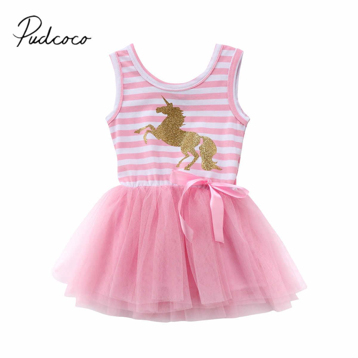 70993c33523 2018 Фирменная Новинка для новорожденных без рукавов для маленькой принцессы  Обувь для девочек Дети платье Единорог