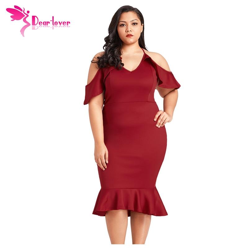 0a13522f4a96e Dear Lover Plus Size Bodycon Dress Sexy Black Ruffle Cold Shoulder Flounced  Dress Large Clothing Women Vestido de Verano LC61885