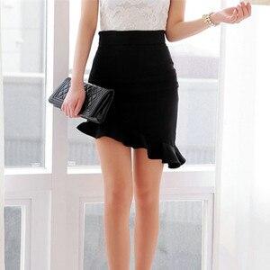 Image 3 - NEW Girls  Black Elasticity High Waist  Skirts Sexy Asymmetry Ruffles Skirt  Slim  Women Tight Bias Skirt
