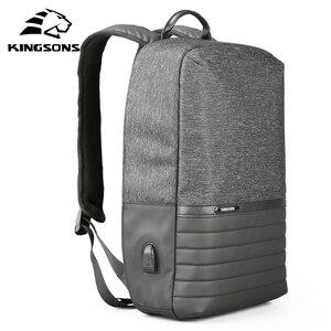 Image 2 - Kingsons 15 zoll Laptop Rucksack USB Lade Anti Theft Rucksäcke Männer Reise Rucksack Wasserdicht Schule Tasche Männlichen Mochila