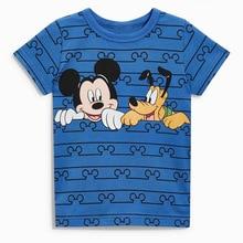 Новая летняя одежда для маленьких мальчиков футболка с короткими рукавами и круглым вырезом Модная хлопковая Футболка с принтом Микки, Синяя толстовка, топы
