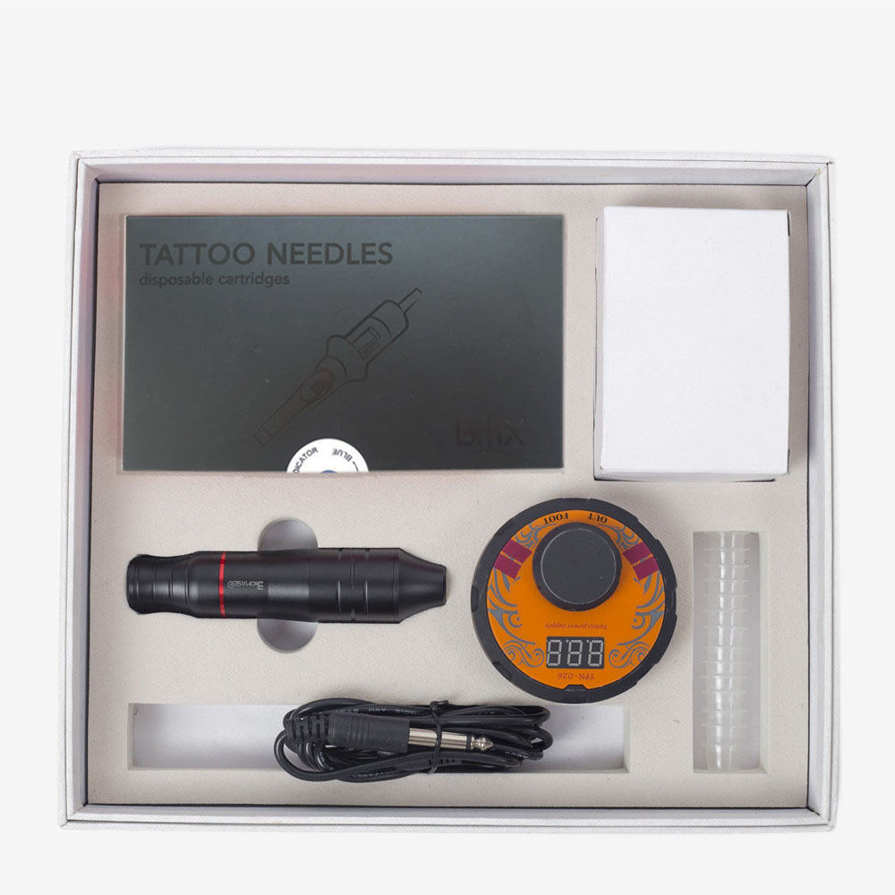 BIOMASER professionnel pistolet à tatouage rotatif LCD double alimentation de tatouage stylo de tatouage Machine ensemble LCD Mini équipement d'alimentation