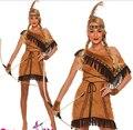 Бесплатная доставка Дамы Покахонтас Родной Американских Индейцев Дикий Запад Партии Причудливого платья Костюма Sml XL 2XL