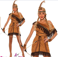 Free Shipping Ladies Pocahontas Native American Indian Wild West Fancy Dress Party Costume S M L