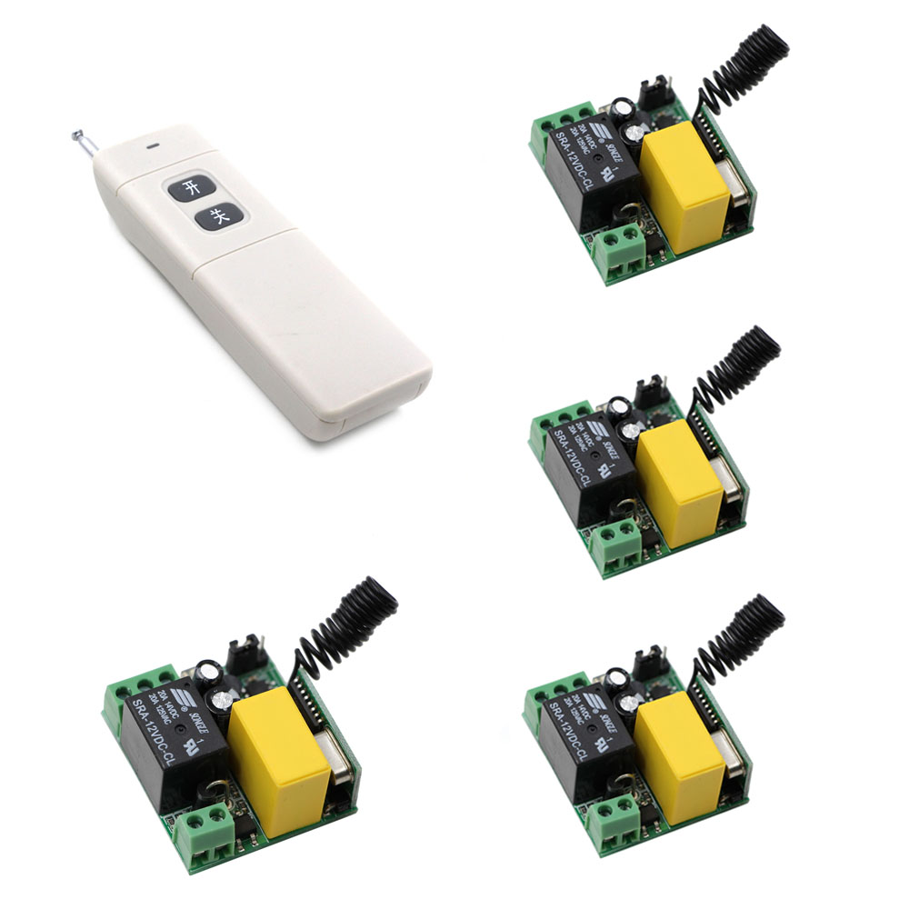AC 220V 1 CH 1CH RF Wireless Remote Control Switch System Remote Light ON/OFF Transmitter + Receiver,315Mhz/433Mhz ac 220 v 1 ch wireless remote control switch system 4x transmitter with 2 buttons 1 x receiver light lamp ledon off 315 433mhz