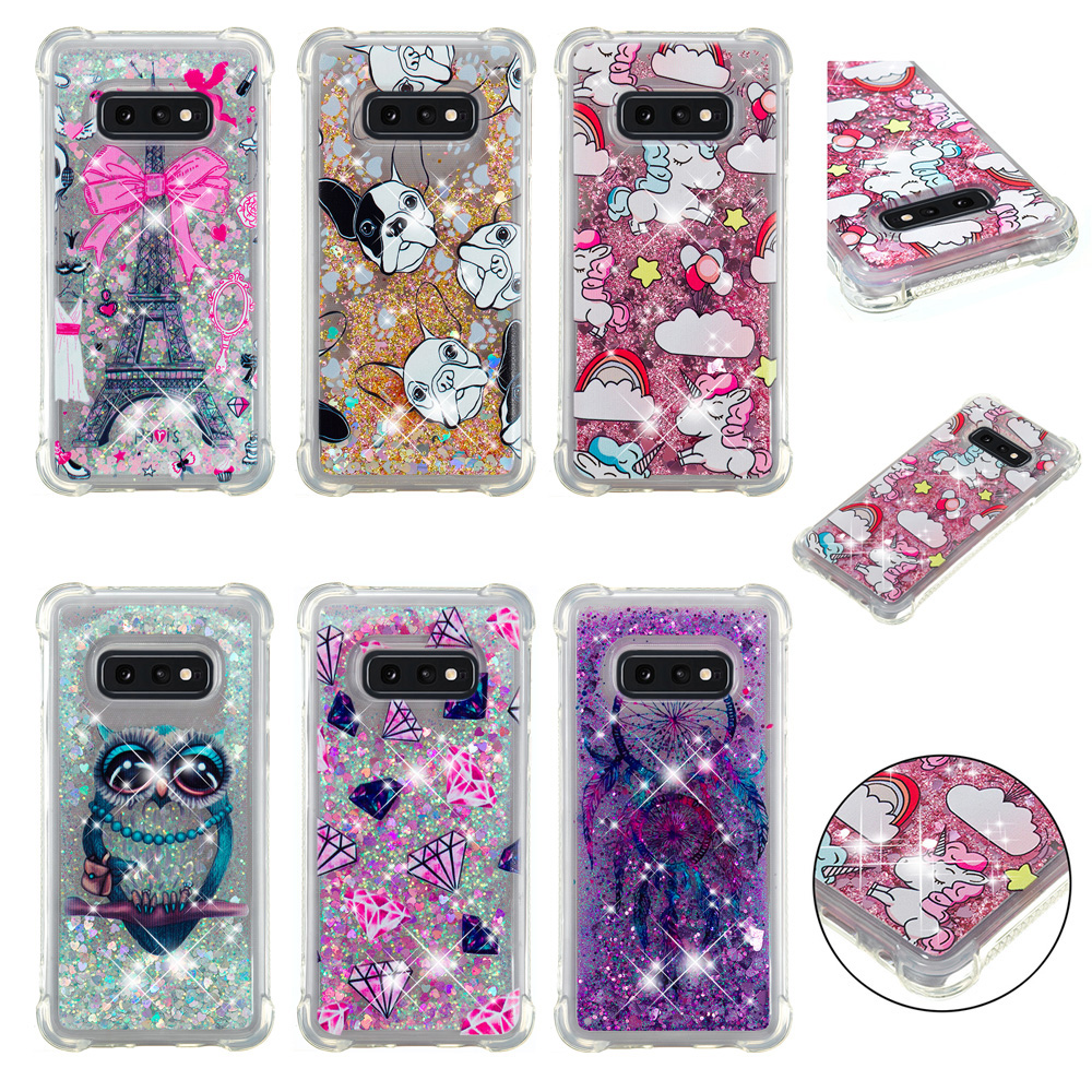liquid phone case for Samsung S10 S10lite cover Galaxy S10plus Cartoon quicksand back funda coque