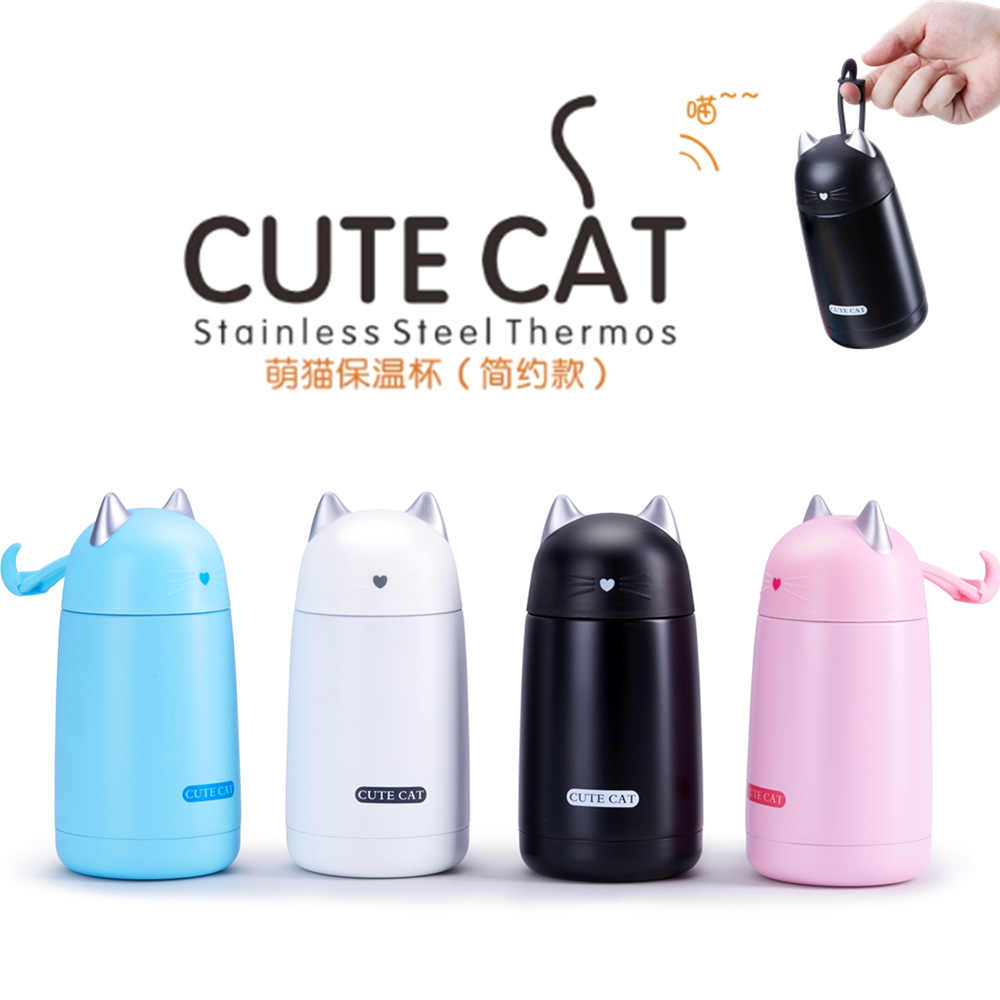 330ML Mini Portable Cat design stainless steel Vacuum insulation Thermos flask Travel Coffee Thermos Cute Cat water mug