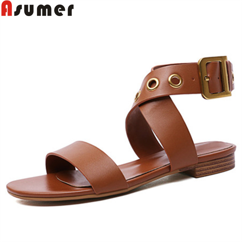 ASUMER Sandals Shoes Buckle Comfortable Big-Size Casual Genuine-Leather Women 34-43