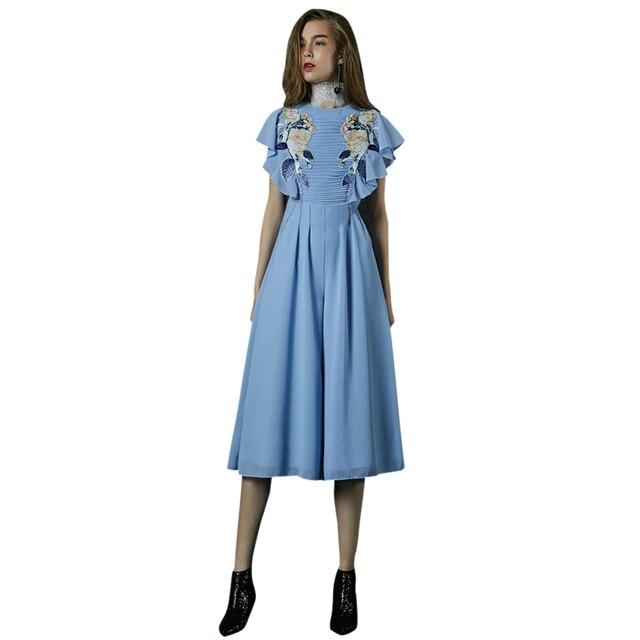 2018 Fashion Trend Stitch Pleated Flower Patchwork Women Blue