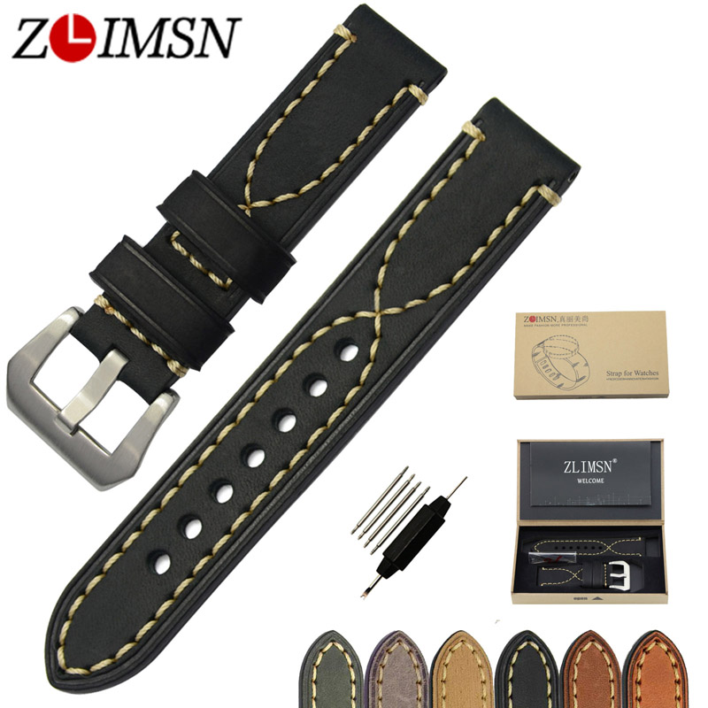 ZLIMSN Watch Band Genuiue Leather Straps Men Belt 20 22 24 26mm Thick Leather Watchband Green Brown Stainless Steel Metal Buckle цена