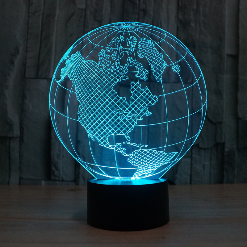 3D World American Globe Optical Illusion Lighting Color Change Touch Switch LED Table Lamp For Home Decoration Household Bedroom In Night Lights From