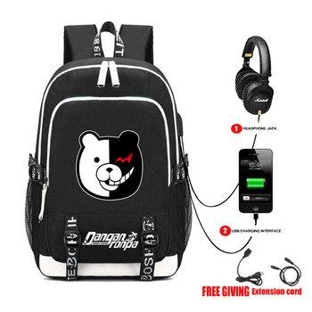 Danganronpa черный белый медведь книжная Сумка Рюкзак Студенческая школьная сумка для мальчиков для девочек рюкзак для путешествий USB порт Mochila ч...