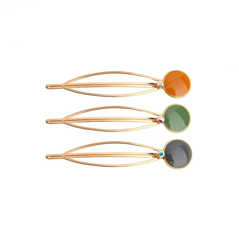 CHIMERA Fashion Resin Geometry Hairpins 3pcs/set Simple Round Metal Hair Clips Headwear Elegant Barrettes Jewelry for Women Girl
