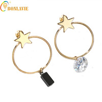 2017 New Arrival Top quality concise Unsymmetrical Accessories Trendy Jewelry beauty romantic star dangle Earrings