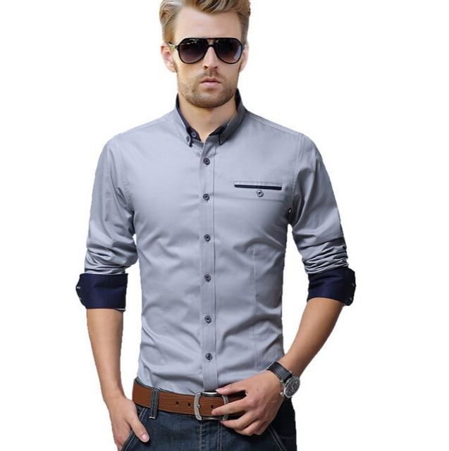 Camisa para hombre vestido de algodón moda más tamaño de