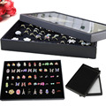 New 100 Slots Black Velvet Ring Storage Ear Pin Display Box Jewelry Organizer Holder Show Case Tray 29x19x3.8cm