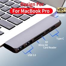 цены на USB C HUB Dual Type-C Port To USB 3.0 Splitter 4K HDMI Adapter For MacBook Pro 2016/2017/2018 ThunderBolt 3 USB-C Port USB HUB  в интернет-магазинах