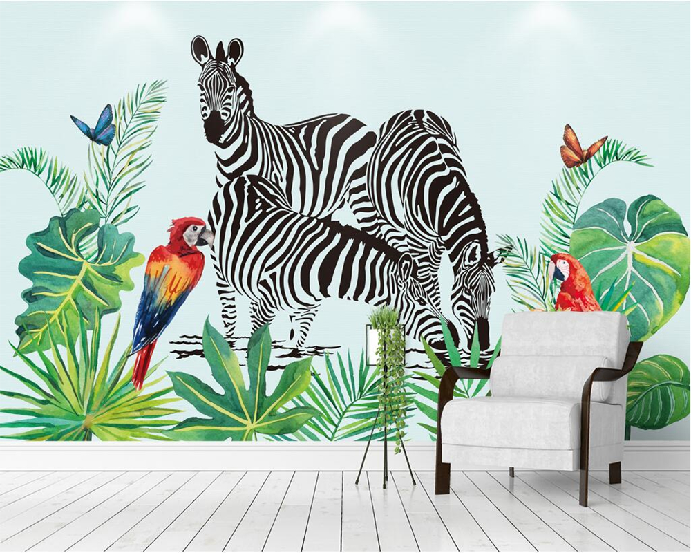 Beibehang Custom Wallpaper Hand-painted Watercolor Tropical Rainforest Plant Zebra Television Background Wall Mural 3d Wallpaper