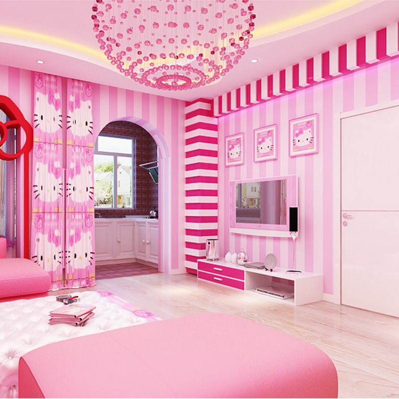 korean simple bedroom cartoon theme living woven qihang stripes non pattern wallpapers party