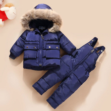 Real Fur Down Coat with Hood Jacket+jumpsuit Baby Girl Boy Kid Clothes 2pcs Winter Outfit Suit Toddler
