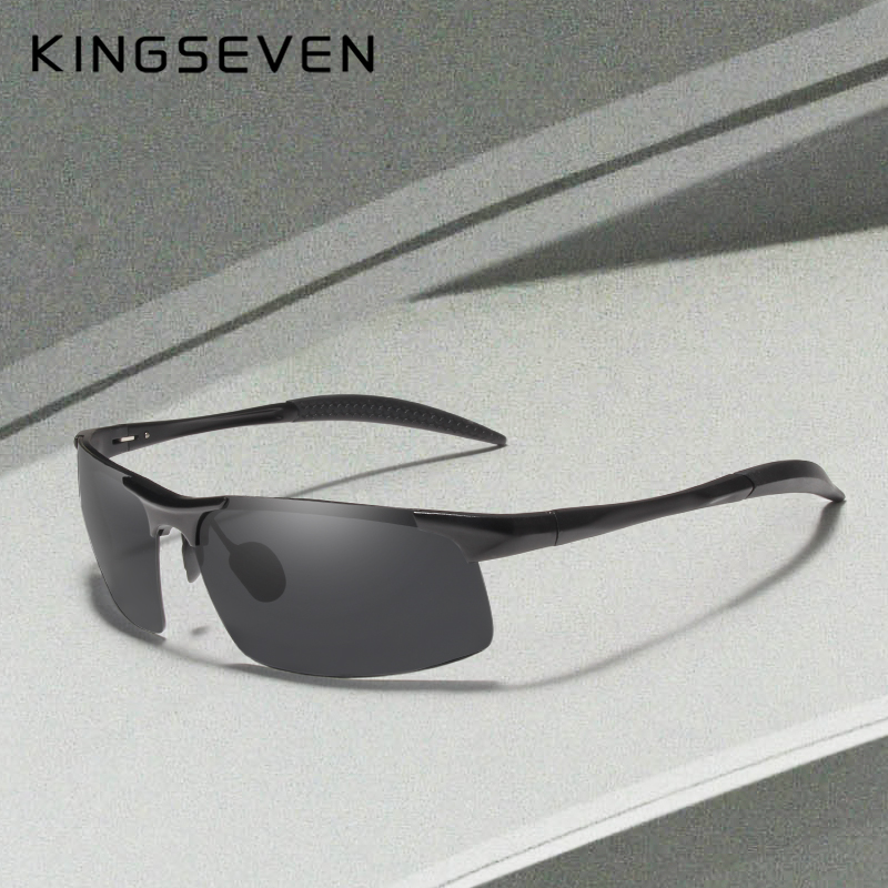 Kingseven Brand Men Glasses Polarized Coating Cermin mata hitam Lelaki Sun Glasses Women Goggles Night Vision Memandu Sunglass 7523