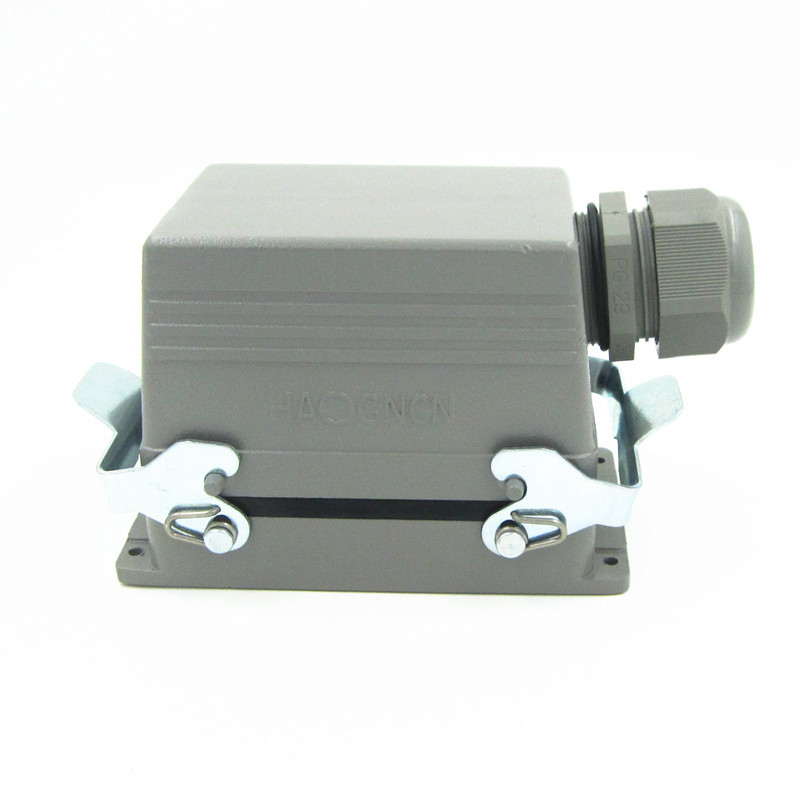 HDC-HE-048-1 Heavy Load Connector 48 Core 16A Rectangle Connector Heat Flux Avenue Plug heavy duty connectors hdc he 024 1 f m 24pin industrial rectangular aviation connector plug 16a 500v