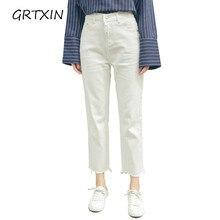Blanco Jeans Mujer 2018 nueva Preppy estilo Casual suelta alta cintura  tobillo longitud pantalones vaqueros pantalones 765d01114b5