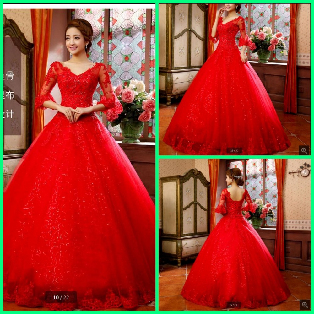 2016 new designer ball gown red wedding dress lace for Red wedding dresses with sleeves