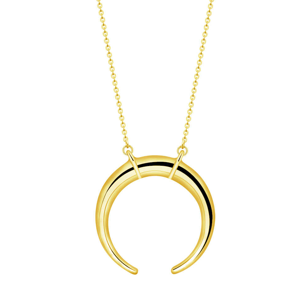 Crescent Moon Necklaces For Women Accessories Stainless Steel Long Chain Double Horn Necklaces Pendants Rose Gold Sister Gifts